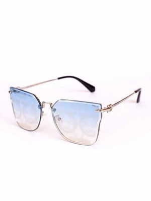 Stylish Golden Sunglasses with Blue Printed Lens