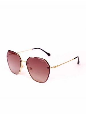 Casual Geometrical Golden Sunglasses with Brown Lens