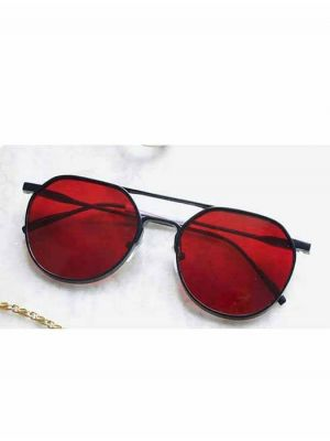 Stylish Round Metal Sunglasses with Red Lens