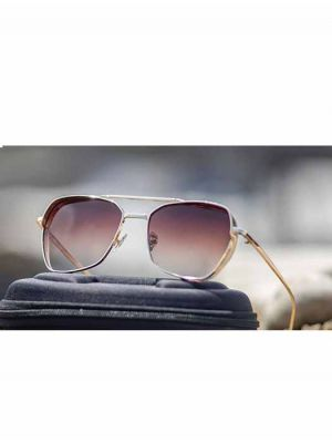 Stylish Geometrical Golden Sunglasses with Brown Lens