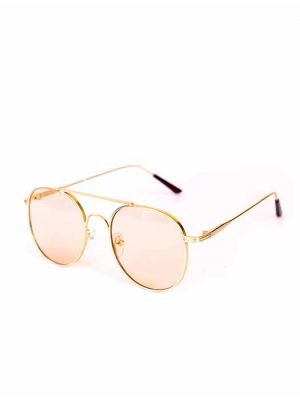 Classic and Casual Round Brown-Gold Sunglasses