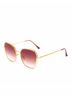 Geometrical Design Golden Sunglasses with Brown Lens