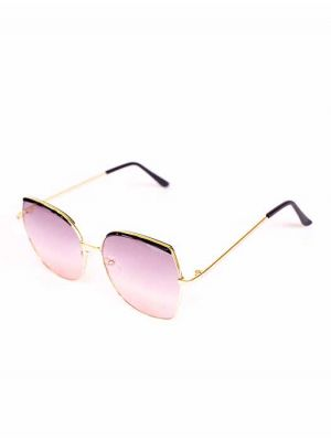 Hexagonal Golden-Black Sunglasses with Faded Pink Lens