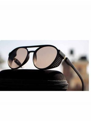 Black Steampunk Sunglasses with Brown Lens
